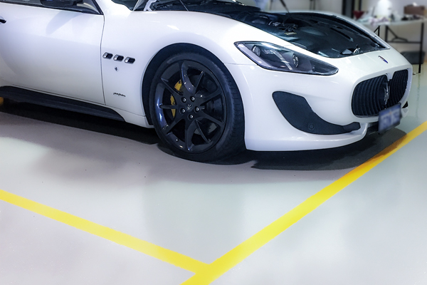 Garage Floor with Line Marking